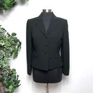 Tahari Arthur Levine Black Peplum Blazer Jacket 6P